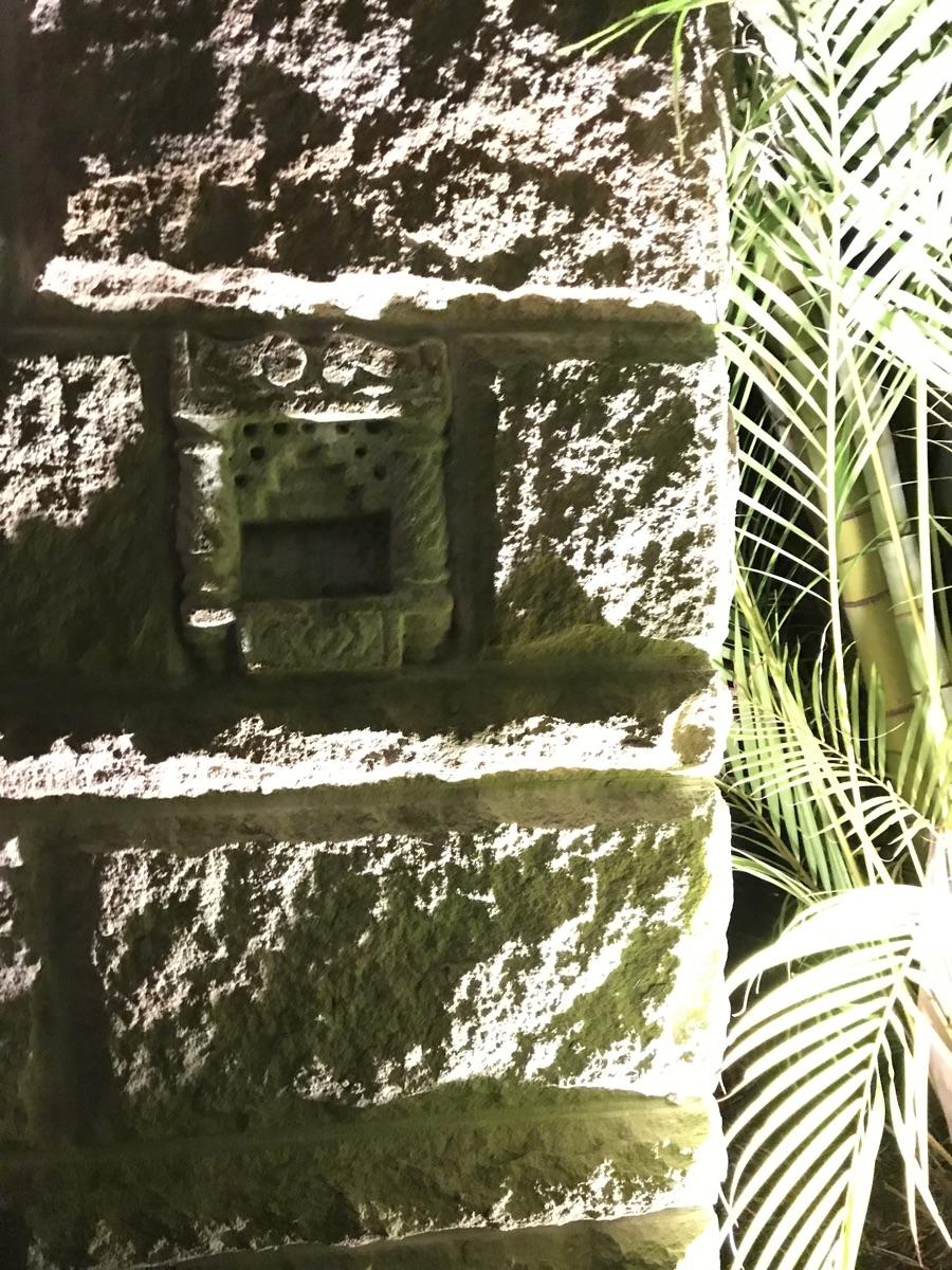Outdoor lighting in sandstone wall